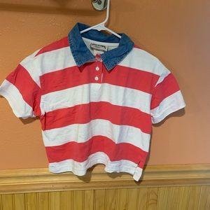 Vintage Crop Top Polo Chambray Stripes